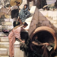 Diogenes in his barr...